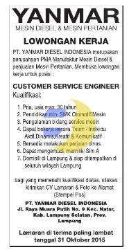 Karir Kerja di Lampung PT. YANMAR DIESEL INDONESIA