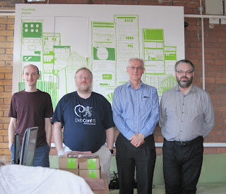 Michael Drake, Daniel Silverstone, Dave Higton and Vincent Sanders at NetSurf Developer workshop