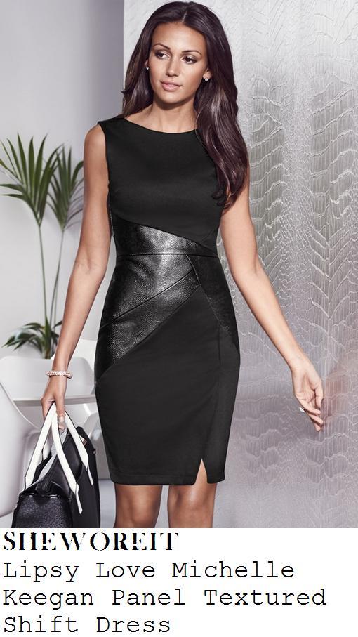 michelle-keegan-black-sleeveless-faux-leather-panel-tailored-shift-dress-dubai