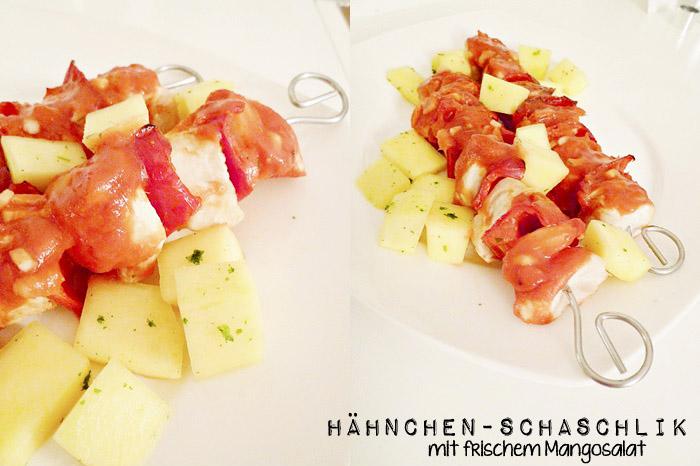 Hähnchen-Schaschlik mit frischem Mangosalat
