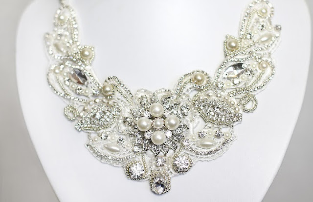 bridal lace statement necklace