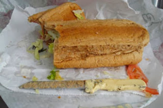 Knife in subway sandwich