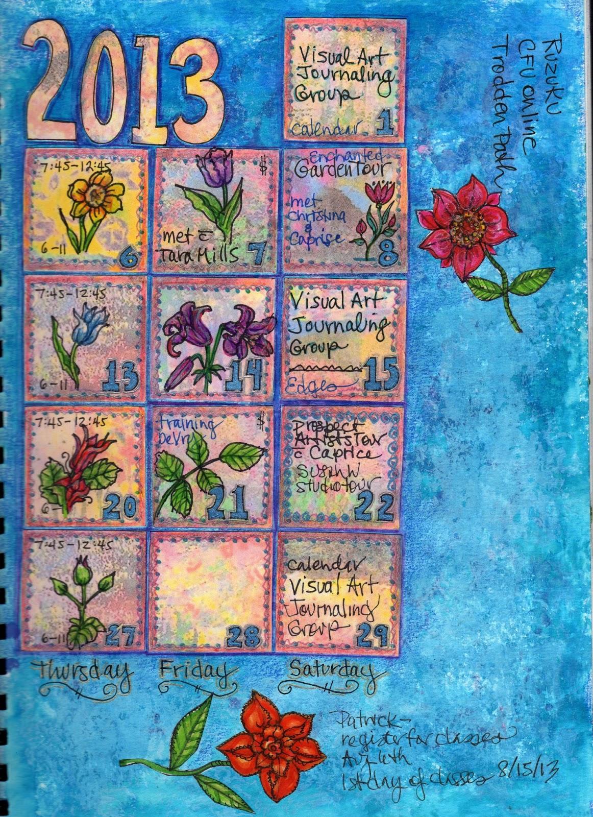 Art Journal Calendar Pages : Gayle s art journal journey june calendar page progress