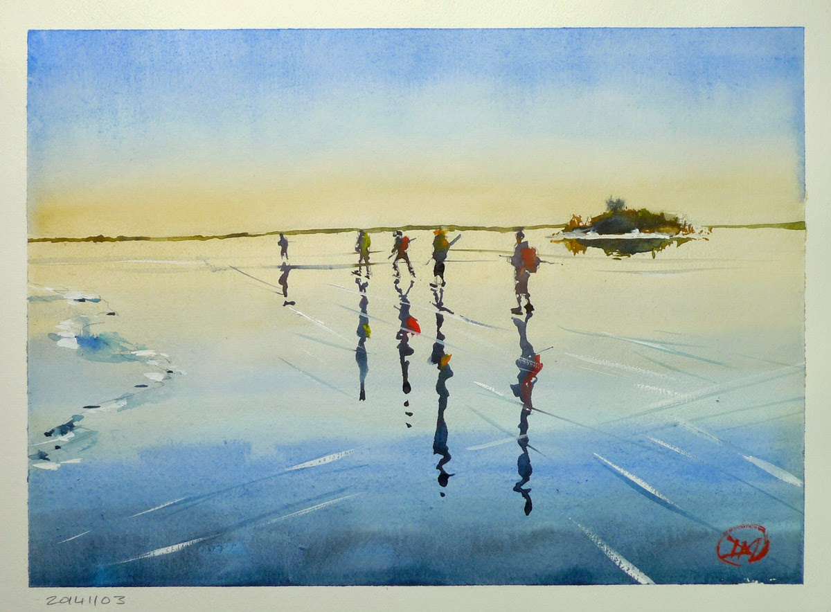 Ice skating in the archipelago by David Meldrum