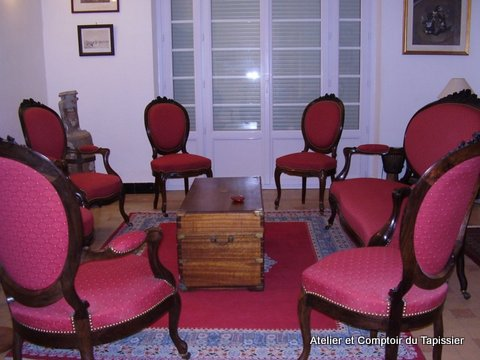 Atelier et comptoir du tapissier salon napol on iii - Salon anglais en tissu ...
