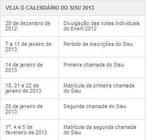 Calendário do Sisu.