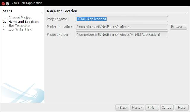 Pengaturan lokasi file proyek aplikasi HTML5 di NetBeans IDE 8.0