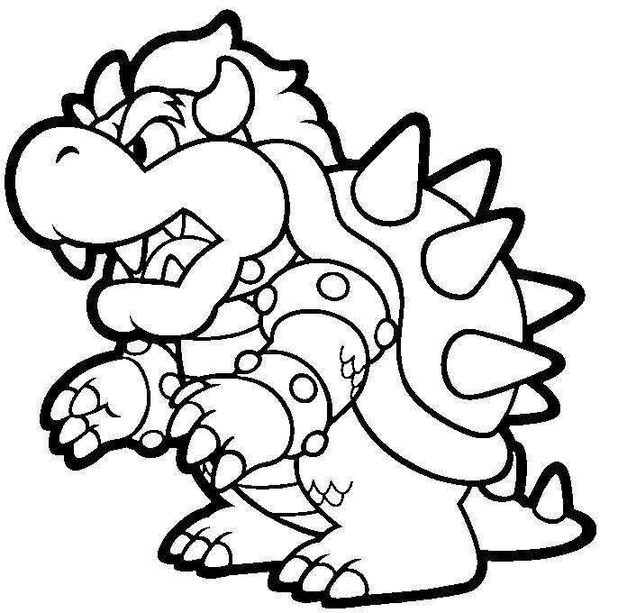 Desenho como desenhar o super mario Koopa Troopa Bowser ou Rei Koopa pintar e colorir