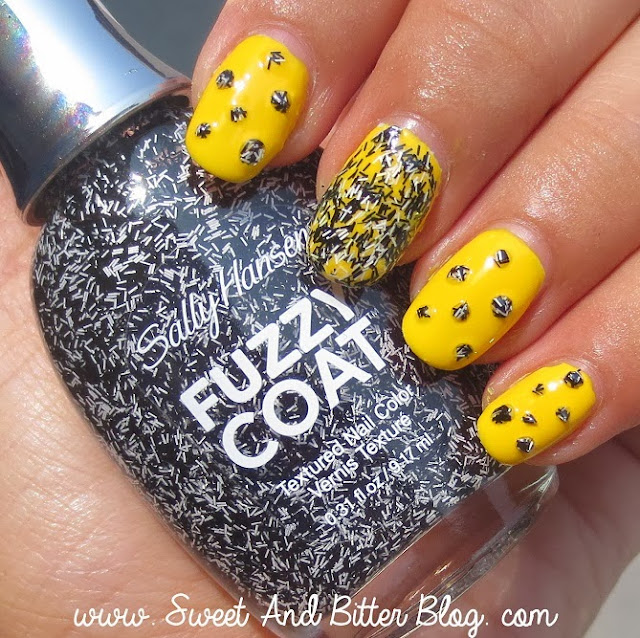 Sally Hansen Fuzzy Coat Tweedy 800 over Sunshine Yellow