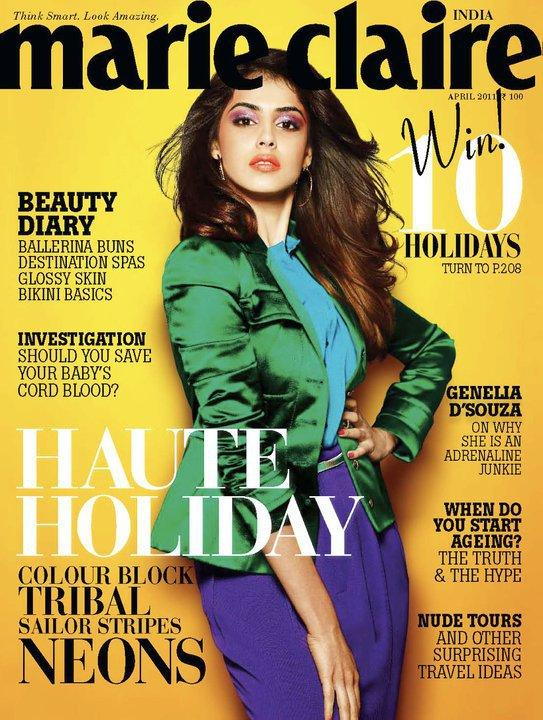 Genelia Dsouza - Genelia D'souza On Marie Claire Magazine Cover April 2011 Edition