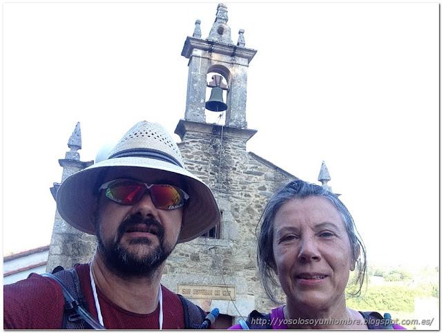 Selfie en San Esteban de Cos, fin de la etapa.