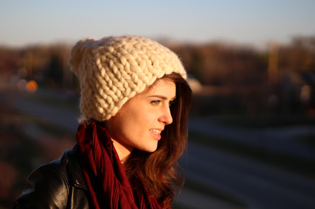brunette, girl, woman, handmade diy knitting chunky bulky hat how to knit how do i make a hat, crafty, handcrafted, wool, merino, knitpicks, bulk, roving, pom, pompom, tutorials