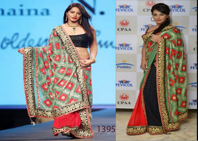 Nitu Chandra Ramp Walk in Red Designer Saree