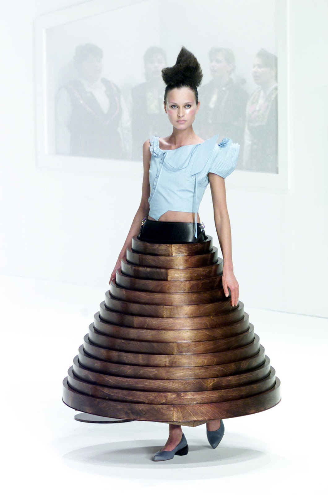 wearable object in fashion one more good one hussein chalayan afterwords collection show 2000 fall winter wooden table dress