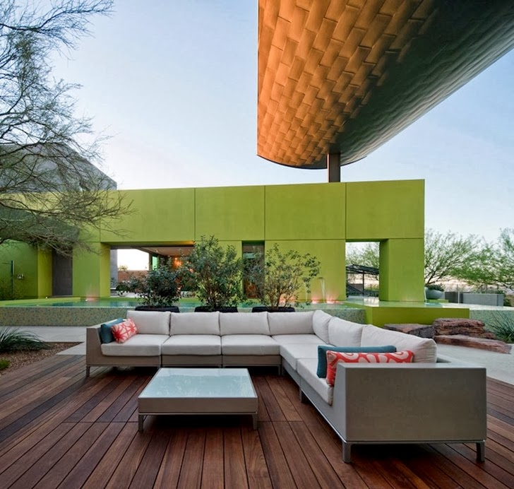 Modern sofa on the terrace of Multimillion modern dream home in Las Vegas