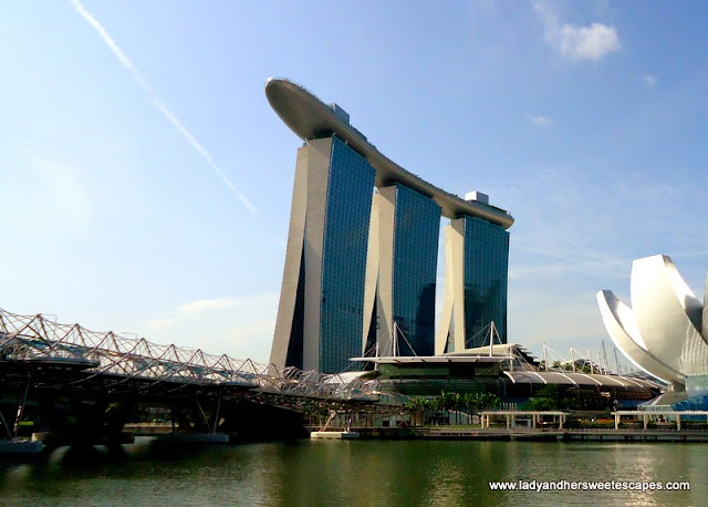 view of Marina Bay Sands from Helix Bridge