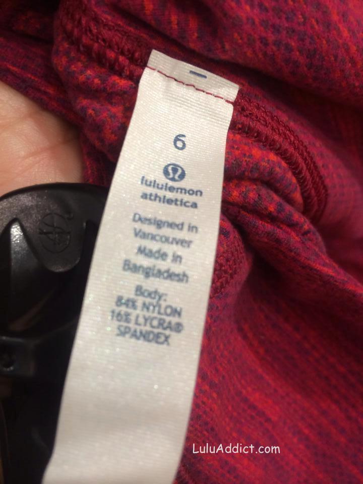 lululemon flaming tomato space dye fabric tag