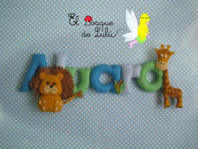 nombre-decorativo-en-fieltro-Alvaro-decoración-infantil-detalle-nacimiento-regalo-personalizado-león-jirafa