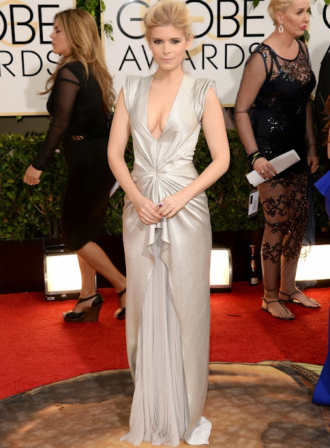 Kate Mara in J Mendel at the Golden Globes
