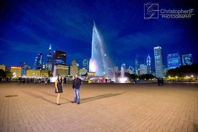 Buckingham Fountain Engagement Photo