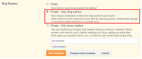make your blog private