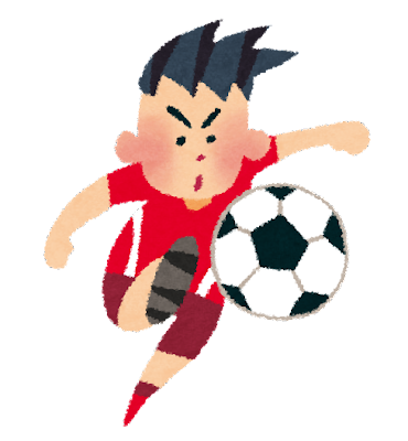オリンピックのイラスト「サッカー・赤ユニフォーム」