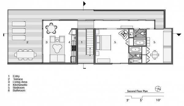 Squared ocean guest house for Small block house plans