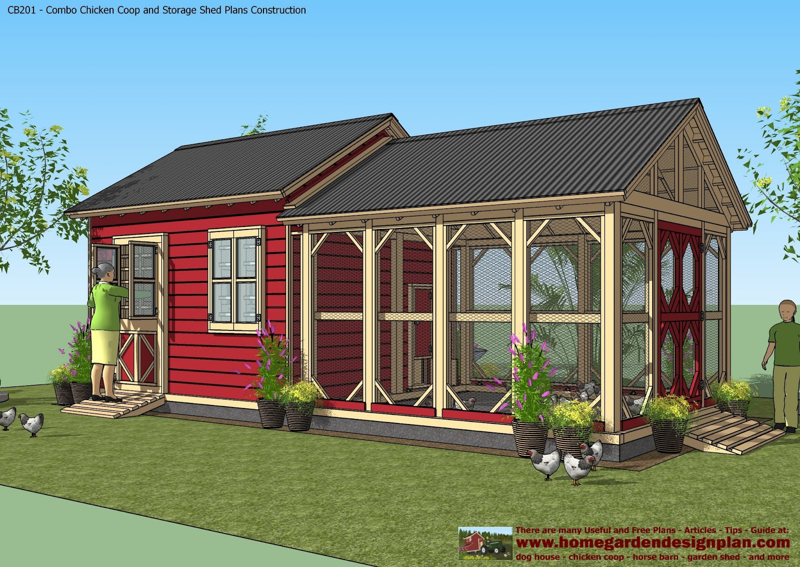 Home garden plans cb201 combo plans chicken coop for Storage building designs