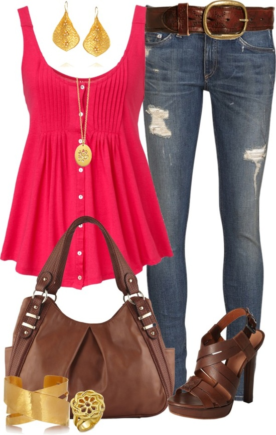Pink blouse, jeans, brown belt, golden ear rings, high heels and bracelet for ladies