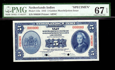 Netherlands Indies Currency 5 Gulden banknote