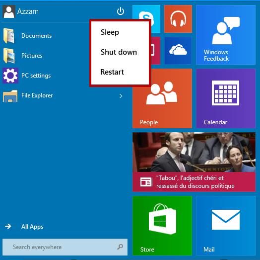 ajouter menu démarrer windows 10