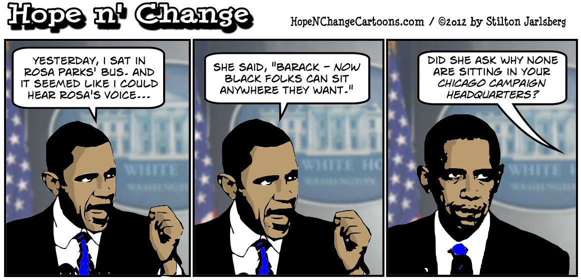 Barack Obama sits in Rosa Park's bus but still won't do anything to help Blacks move from the back of his economic bus, hopenchange, hope n' change, hope and change, stilton jarlsberg, tea party, conservative, political cartoon