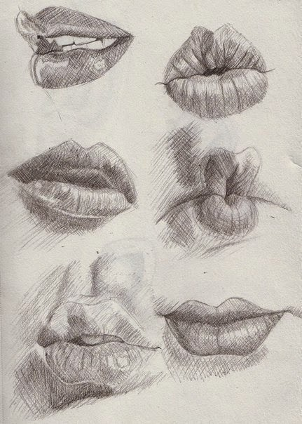 губы картинки нарисованные карандашом