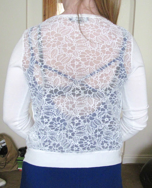 white floral pattern cardigan