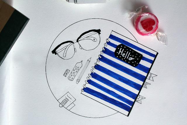 Draw on Monday #23, draw on monday, draw, dessin, vive la rentrée, supplies, blog, pappeterie, muji, hema, enjoyk, blogger, tiger,