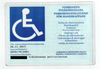 vammaisen pysäköintilupa