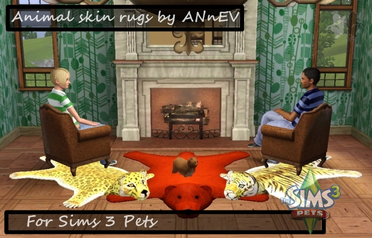 My Sims 3 Blog  Animal Skin Rugs by ANnEV
