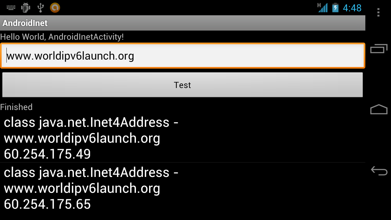 Android Coding Gets Ip Addresses Of A Given Host