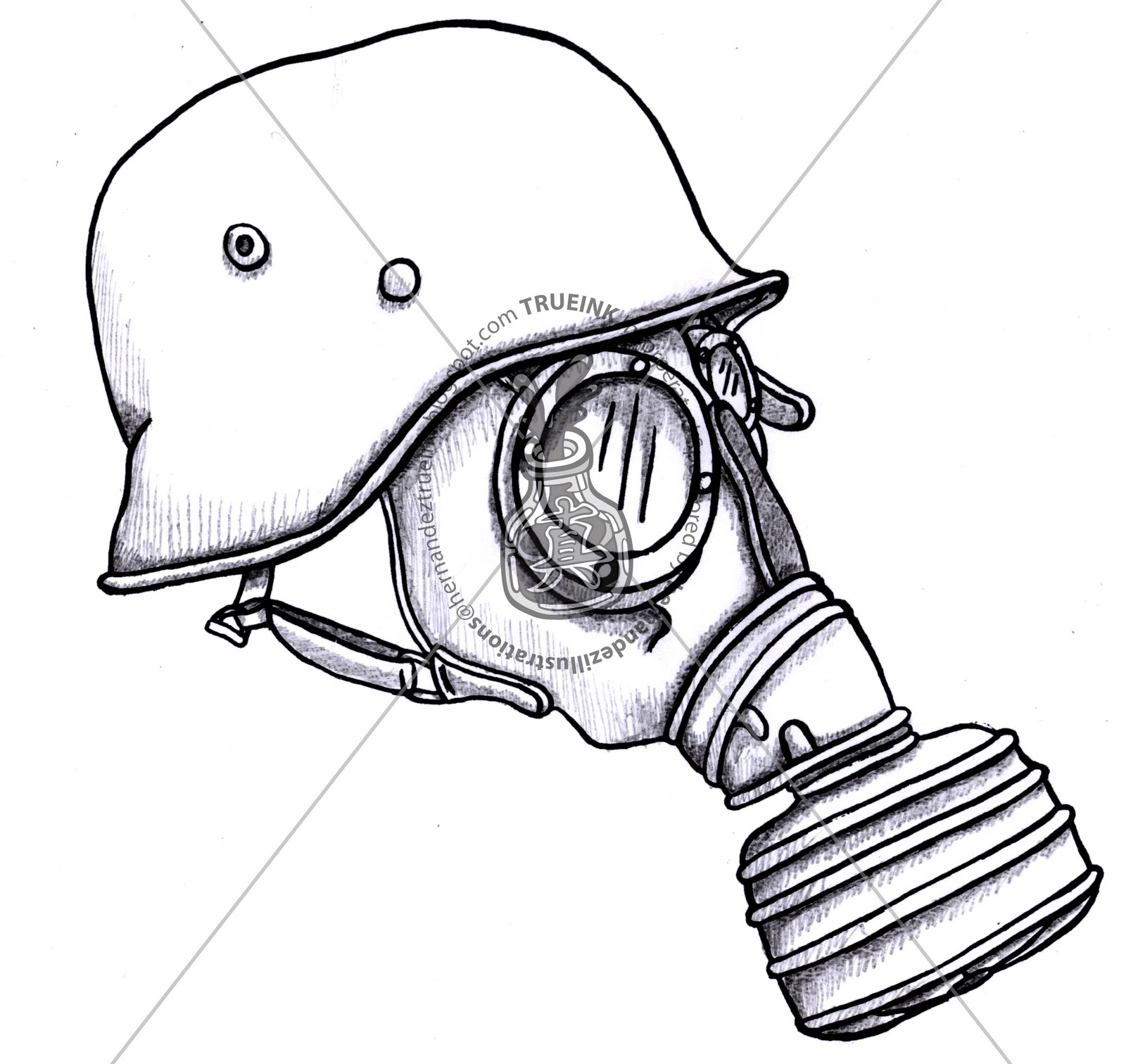 Evil Gas Mask Drawings
