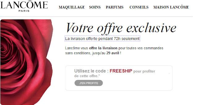 La livraison offerte pendant 72h seulement sur le site Lancôme Mademoiselle Bons Plans
