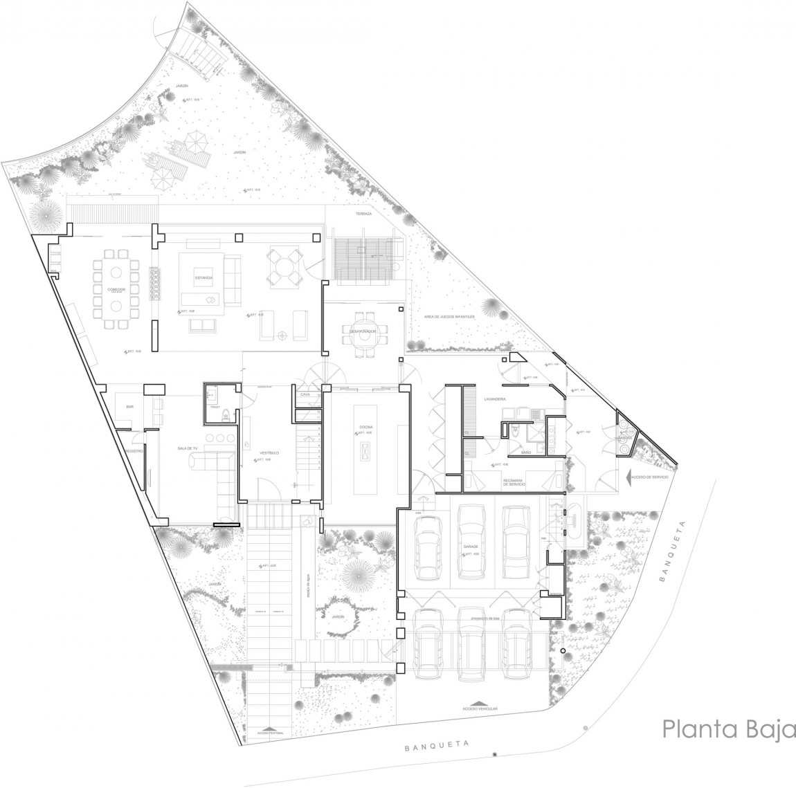World of Architecture  Compromising Modern Home In Mexico   Casa    Ground floor plan of the modern home