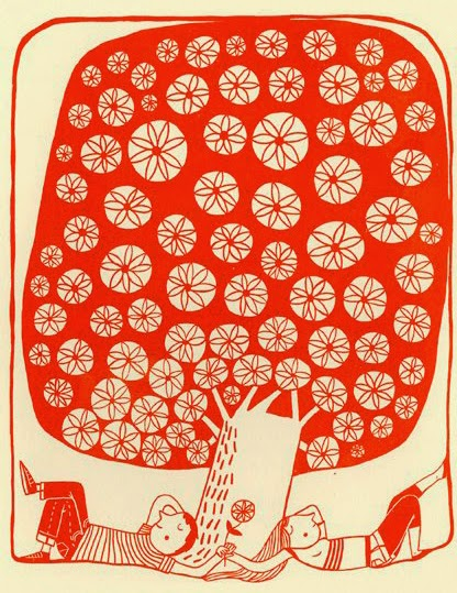 illustration of two lovers under a tree by Mina Braun