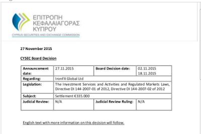 Ironfx deberá pagar 335,000 euros a CySEC