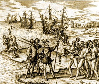 Christopher Columbus landing on Hispaniaola Haiti