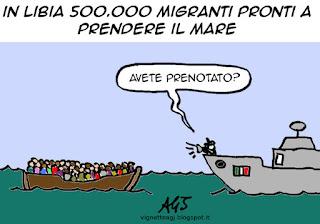 Migranti, Libia, satira, vignetta