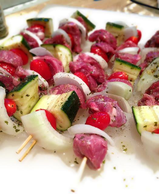 Healthy lamb kebabs