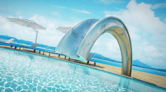 one of their pieces that stands out is the shoot pool slide a slide for an indoor or outdoor swimming pool that puts all those hideous fiberglass ones to
