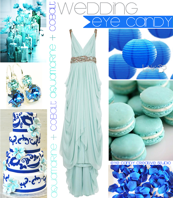 wedding decor ideas, wedding inspiration board, aquamarine & cobalt