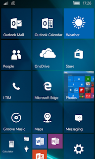 Windows10 Mobile preview build Home Screen