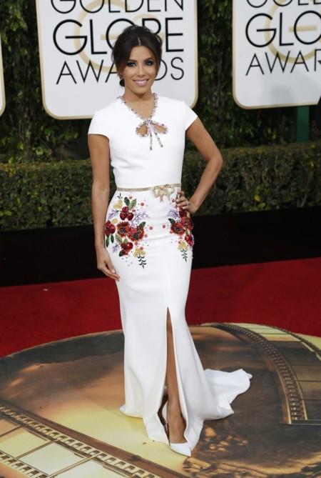 Eva Longoria vestida de Georges Hobeika en los Golden Globes, enero 2016